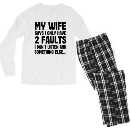 My Wife Quote Men's Long Sleeve Pajama Set Designed By Pinkanzee