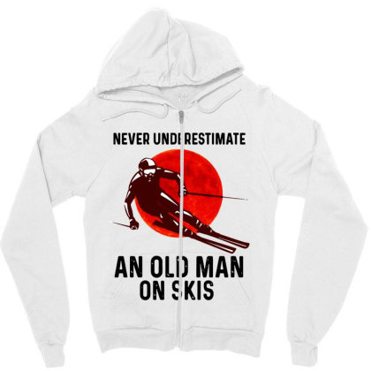 Never Underestimate An Old Man Zipper Hoodie Designed By Pinkanzee