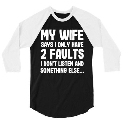 My Wife Typography 3/4 Sleeve Shirt Designed By Pinkanzee