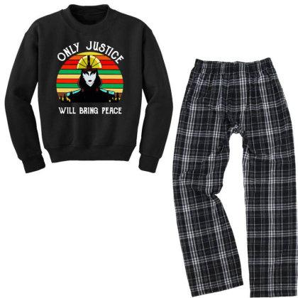 Peace Vintage Youth Sweatshirt Pajama Set Designed By Pinkanzee