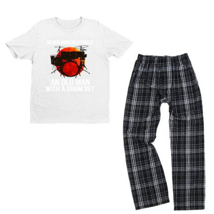 Never Underestimate A Drum Youth T-shirt Pajama Set Designed By Pinkanzee