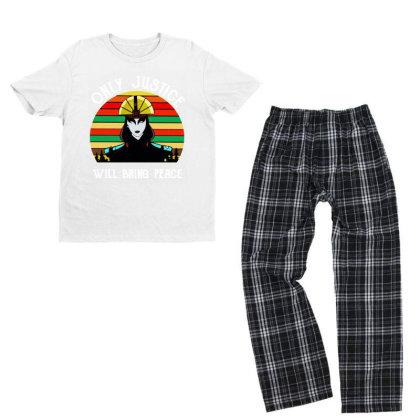 Peace Vintage Youth T-shirt Pajama Set Designed By Pinkanzee