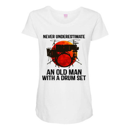 Never Underestimate A Drum Maternity Scoop Neck T-shirt Designed By Pinkanzee