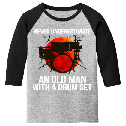 Never Underestimate A Drum Youth 3/4 Sleeve Designed By Pinkanzee