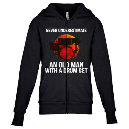 Never Underestimate A Drum Youth Zipper Hoodie Designed By Pinkanzee