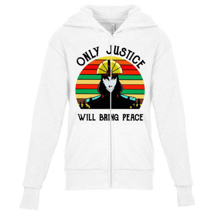 Peace Vintage Youth Zipper Hoodie Designed By Pinkanzee