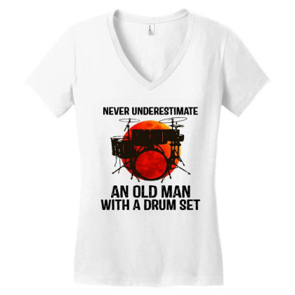 Never Underestimate A Drum Women's V-neck T-shirt Designed By Pinkanzee