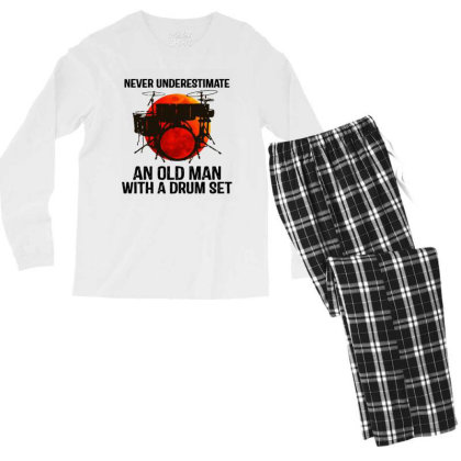 Never Underestimate A Drum Men's Long Sleeve Pajama Set Designed By Pinkanzee
