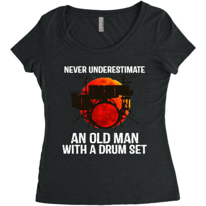 Never Underestimate A Drum Women's Triblend Scoop T-shirt Designed By Pinkanzee