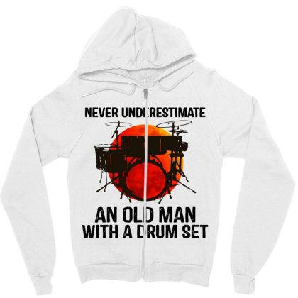 Never Underestimate A Drum Zipper Hoodie Designed By Pinkanzee