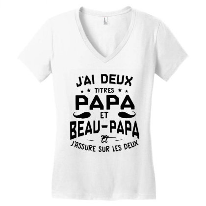 Papa Et Beau Women's V-neck T-shirt Designed By Pinkanzee