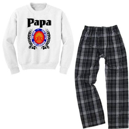 Papa Quote Youth Sweatshirt Pajama Set Designed By Pinkanzee