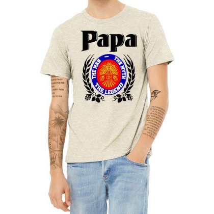 Papa Quote Heather T-shirt Designed By Pinkanzee