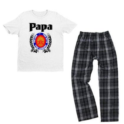 Papa Quote Youth T-shirt Pajama Set Designed By Pinkanzee