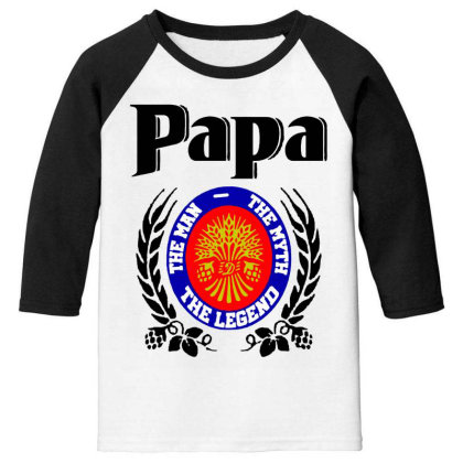 Papa Quote Youth 3/4 Sleeve Designed By Pinkanzee