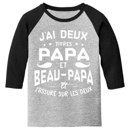Papa Et Beau Youth 3/4 Sleeve Designed By Pinkanzee