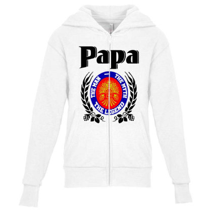 Papa Quote Youth Zipper Hoodie Designed By Pinkanzee