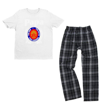 Papa The Man Youth T-shirt Pajama Set Designed By Pinkanzee