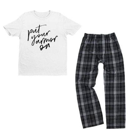 Armor On Youth T-shirt Pajama Set Designed By Pinkanzee