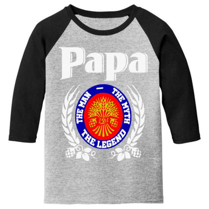 Papa The Man Youth 3/4 Sleeve Designed By Pinkanzee