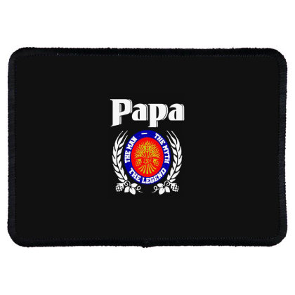Papa The Man Rectangle Patch Designed By Pinkanzee