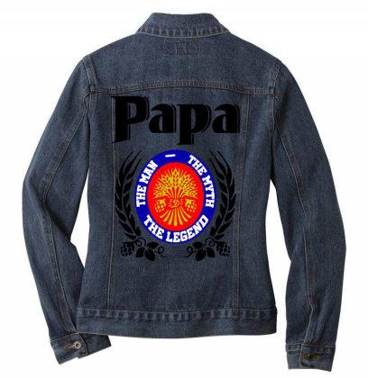 Papa Quote Ladies Denim Jacket Designed By Pinkanzee