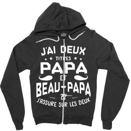 Papa Et Beau Zipper Hoodie Designed By Pinkanzee