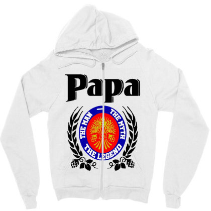 Papa Quote Zipper Hoodie Designed By Pinkanzee