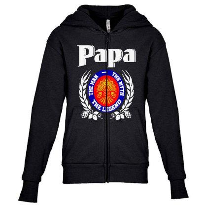Papa The Man Youth Zipper Hoodie Designed By Pinkanzee