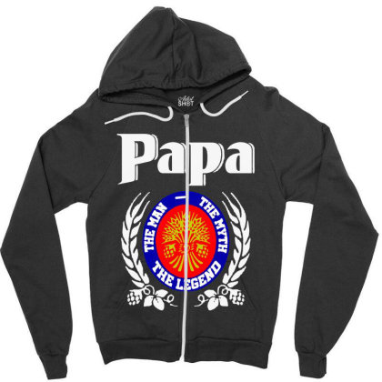 Papa The Man Zipper Hoodie Designed By Pinkanzee