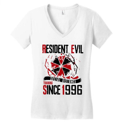 Social Distance Women's V-neck T-shirt Designed By Pinkanzee