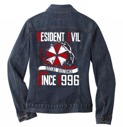 Social Distance Ladies Denim Jacket Designed By Pinkanzee
