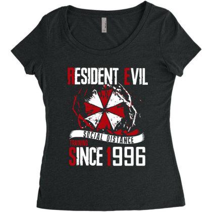 Social Distance Women's Triblend Scoop T-shirt Designed By Pinkanzee