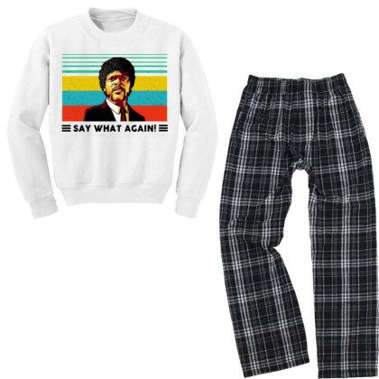 Say What Meme Youth Sweatshirt Pajama Set Designed By Pinkanzee