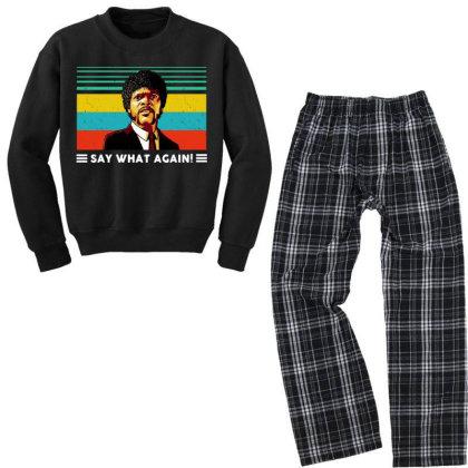 Say What Vintage Youth Sweatshirt Pajama Set Designed By Pinkanzee