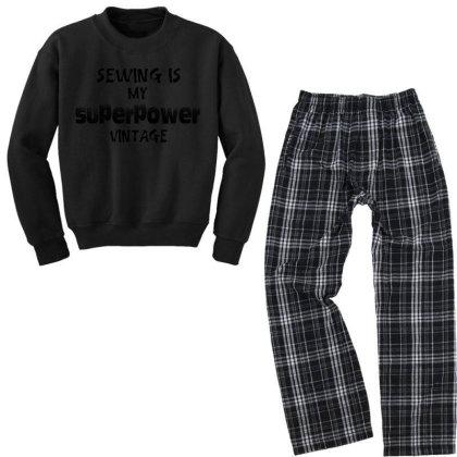 Superpower Vintage Youth Sweatshirt Pajama Set Designed By Pinkanzee