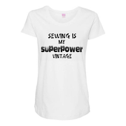 Superpower Vintage Maternity Scoop Neck T-shirt Designed By Pinkanzee