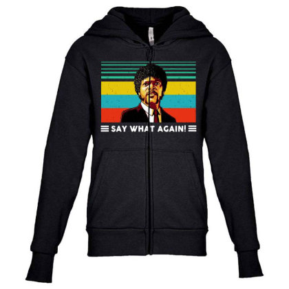 Say What Vintage Youth Zipper Hoodie Designed By Pinkanzee