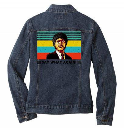 Say What Meme Ladies Denim Jacket Designed By Pinkanzee