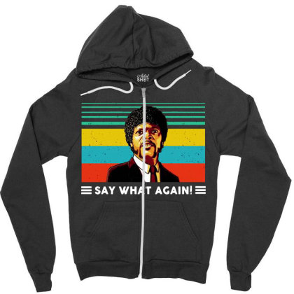 Say What Vintage Zipper Hoodie Designed By Pinkanzee