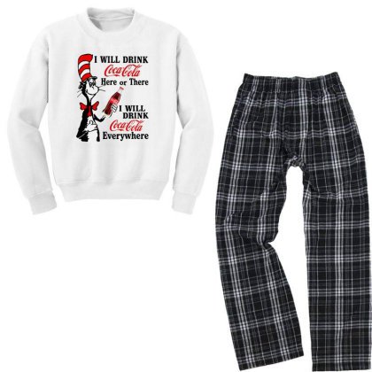 The Cat Drink Cola Youth Sweatshirt Pajama Set Designed By Pinkanzee