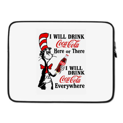 The Cat Drink Cola Laptop Sleeve Designed By Pinkanzee