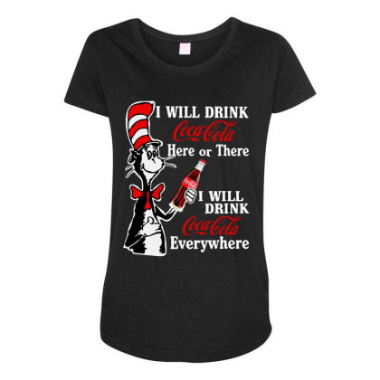 The Cat Drink Cola Maternity Scoop Neck T-shirt Designed By Pinkanzee