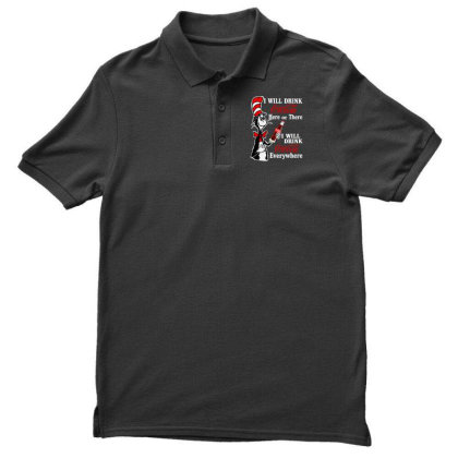 The Cat Drink Cola Men's Polo Shirt Designed By Pinkanzee