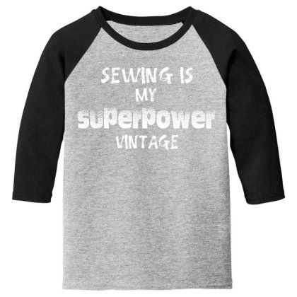 Superpower Vintage Youth 3/4 Sleeve Designed By Pinkanzee
