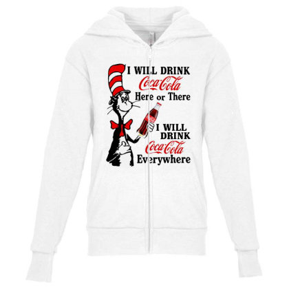 The Cat Drink Cola Youth Zipper Hoodie Designed By Pinkanzee