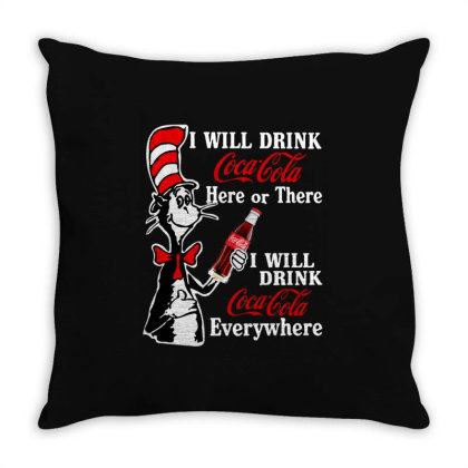 The Cat Drink Cola Throw Pillow Designed By Pinkanzee