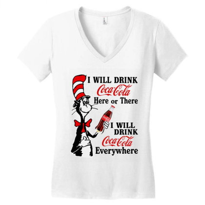 The Cat Drink Cola Women's V-neck T-shirt Designed By Pinkanzee