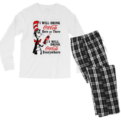 The Cat Drink Cola Men's Long Sleeve Pajama Set Designed By Pinkanzee