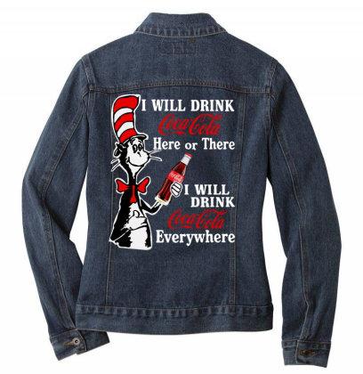 The Cat Drink Cola Ladies Denim Jacket Designed By Pinkanzee